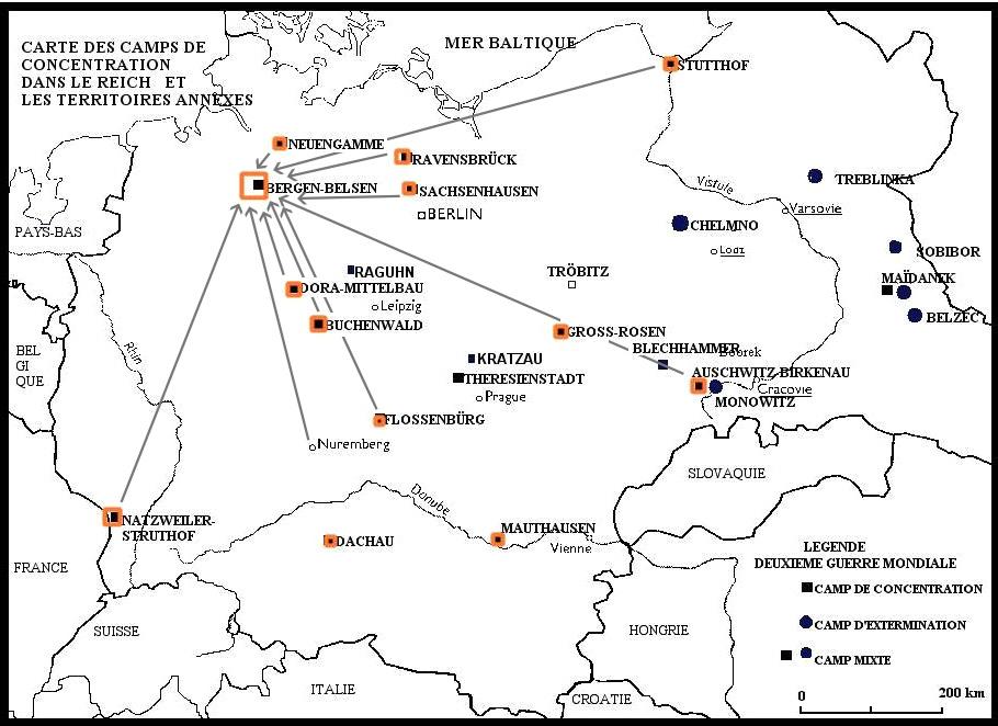 Carte d'évacuation des camps dans le Reich et les territoires annexes vers le camp de Bergen-Belsen